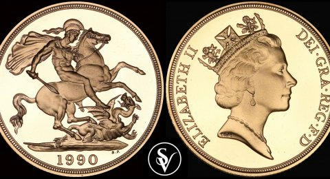 1990 Elizabeth II two pounds gold sovereign