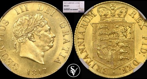1817 Georgius III gold half sovereign MS62 + NGC