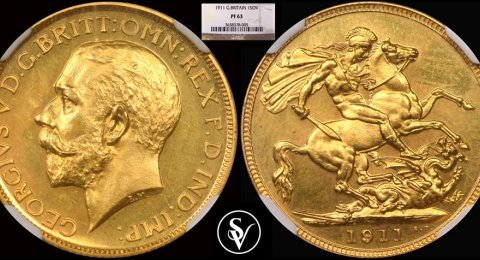 1911 George V gold sovereign PR63 NGC