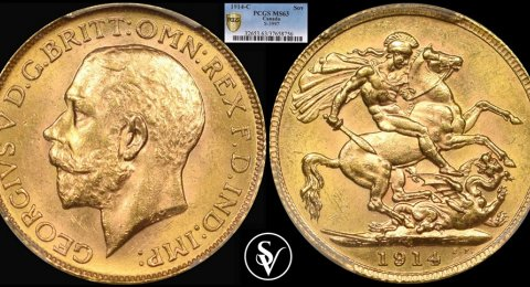 1914 - C George V gold sovereign MS63 PCGS