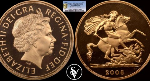 2006 Elizabeth II 5 pound gold sovereign PR69DCAM