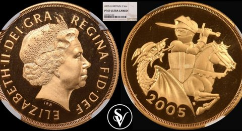 2005 Elizabeth II double proof gold sovereign PR69 ultra cameo
