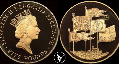1996 Gold five pound proof crown 70th Birthday of Queen Elizabeth