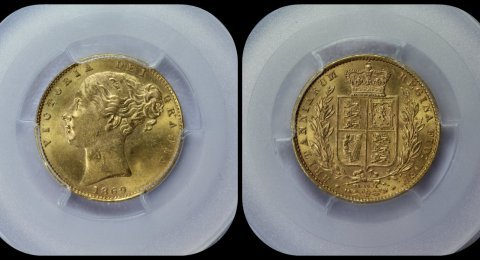 1869 Gold Sovereign MS 63 PCGS