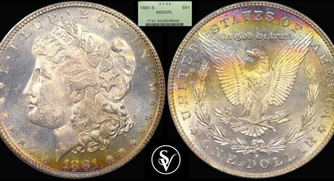 1881 -S  Morgan silver 1$ MS63PL PCGS