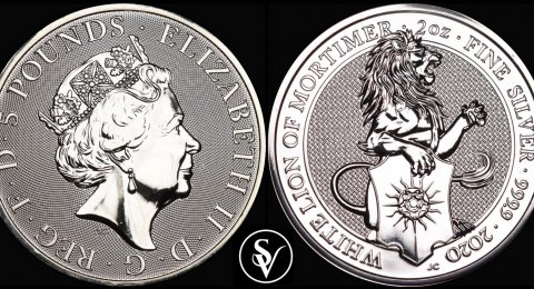 2020 Queen's Beasts White Lion 2 oz pure silver