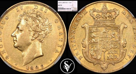 1829 George IV gold sovereign AU53 NGC
