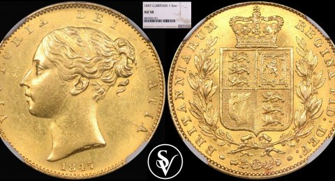 1847 Victoria gold sovereign shield AU58 NGC
