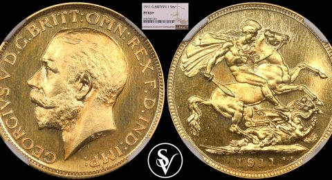1911 George V gold sovereign proof 63+ NGC