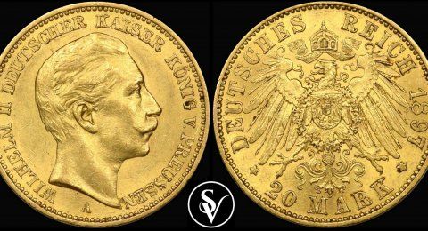 20 Mark gold  Wilhelm II different dates 1890-1913