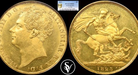1823 George IV double gold sovereign MS62 PCGS